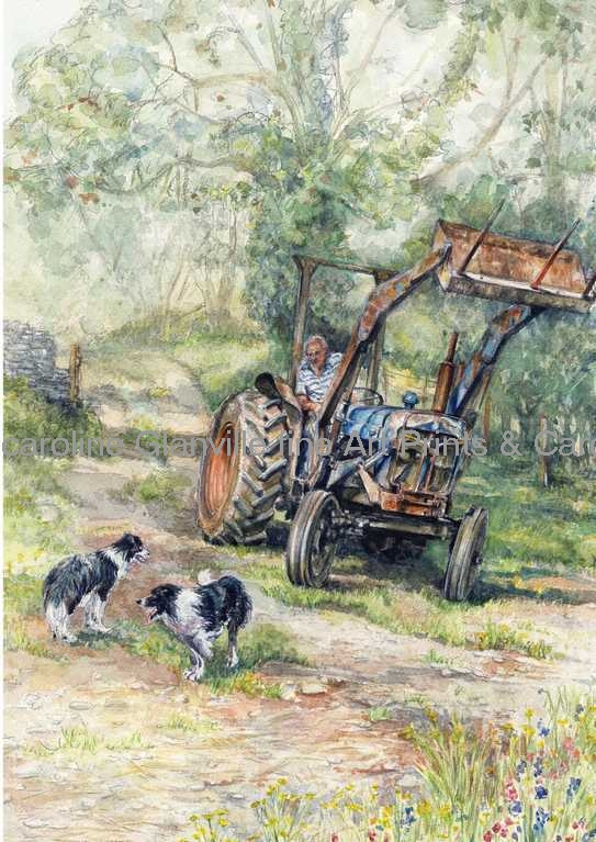 tractor and Welsh collie dogs, painting by Caroline Glanville