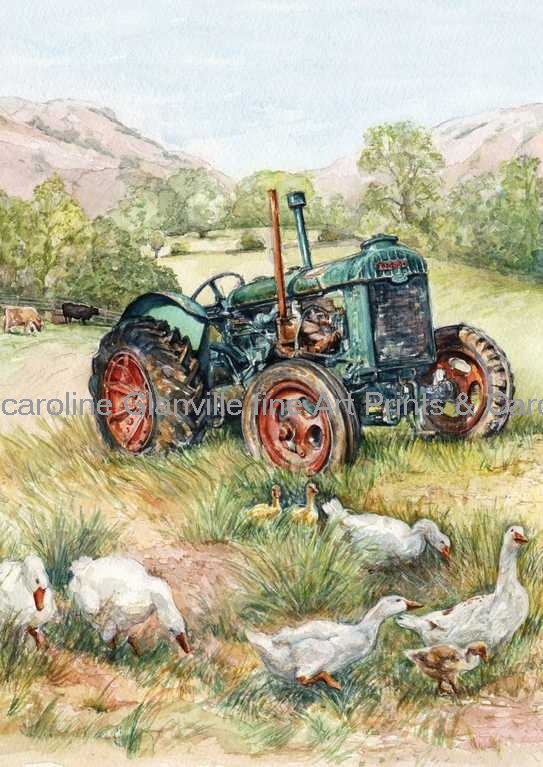Old green tractor, painting by Caroline Glanville