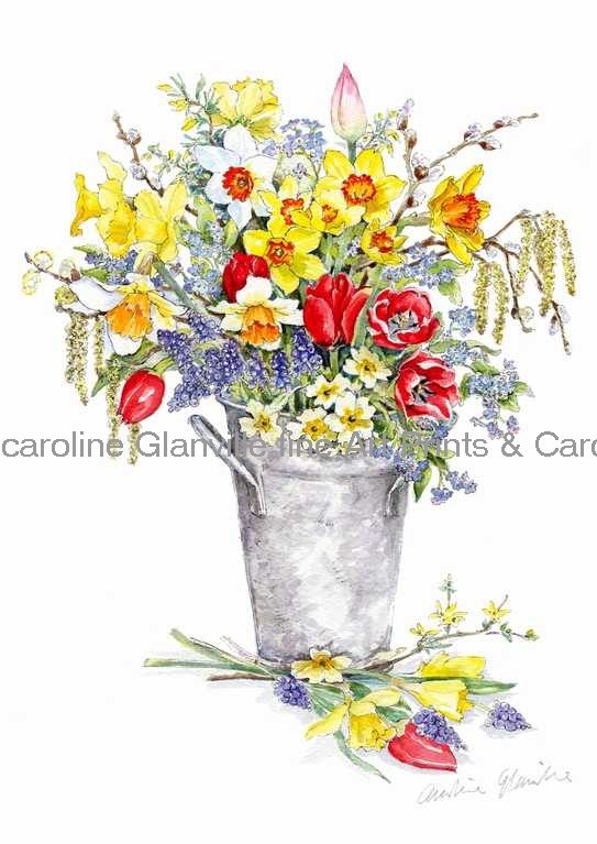 Spring flowers, painting by Caroline Glanville
