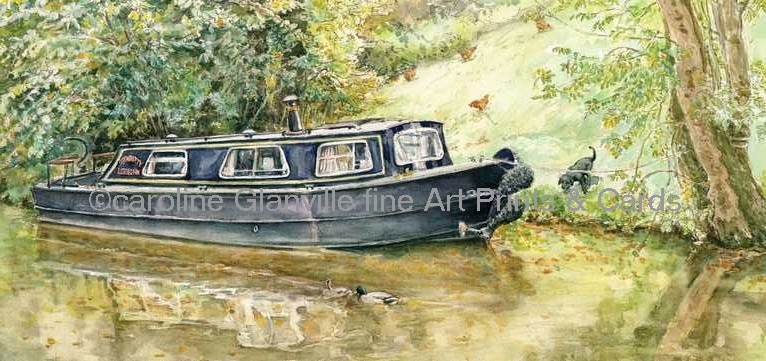 Narrow boat at end of garden painting by Caroline Glanville