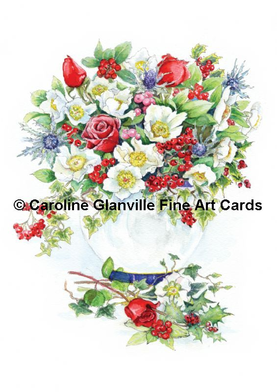 Christmas floral arrangement, painting by Caroline Glanville
