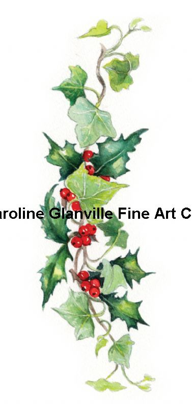 Holly & Ivy Garland, painting by Caroline Glanville