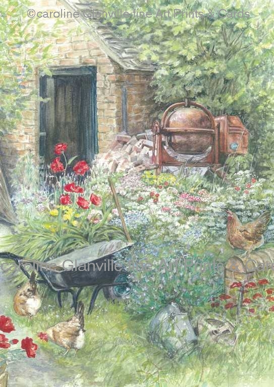 potting shed, painting by Caroline Glanville