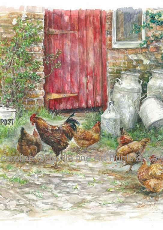 farm yard door, painting by Caroline Glanville