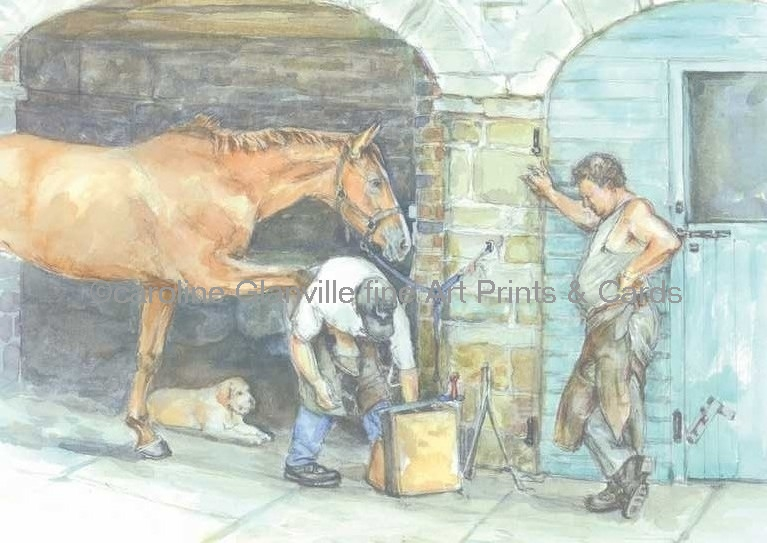 The farrier, painting by Caroline Glanville