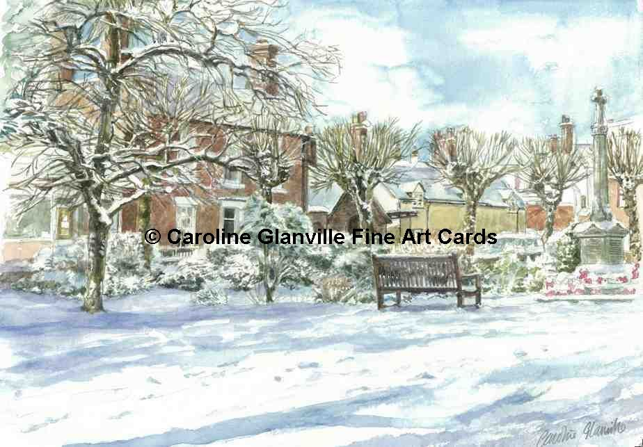 Village view in snow, painting by Caroline Glanville