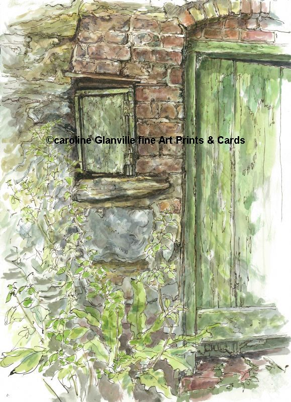 The coal shed, painting by Caroline Glanville