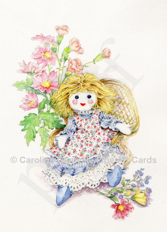 Rag doll with flowers, painting by Caroline Glanville