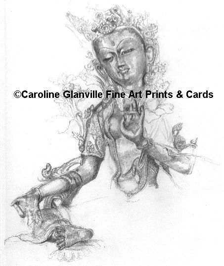 Buddhist image Green tara, drawing by Caroline Glanville