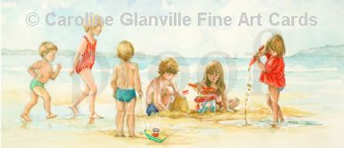 sandcastles and children, painting by Caroline Glanville
