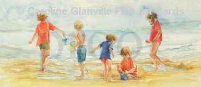 children on a beach playing, painting by Caroline Glanville