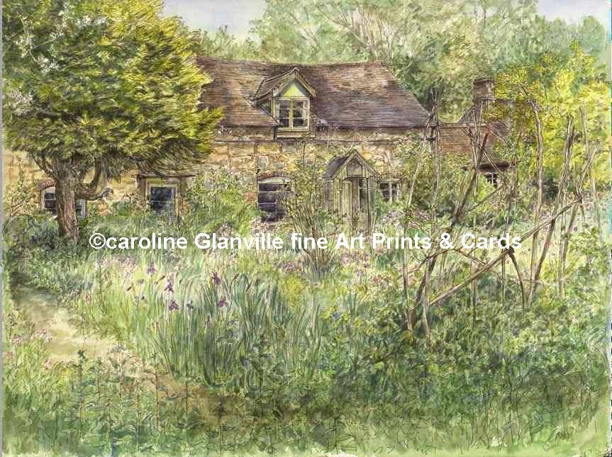 Old Shropshire cottage with bean sticks, painting by Caroline Glanville