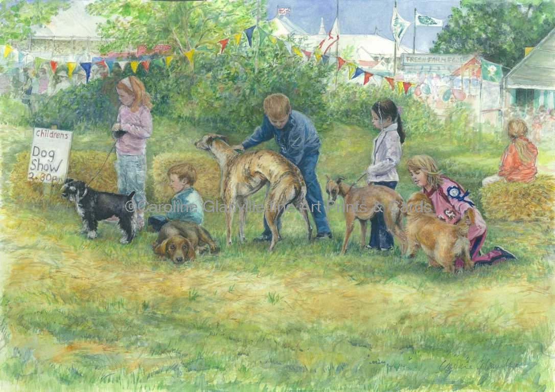 Childrens' dog show painting by Caroline Glanville
