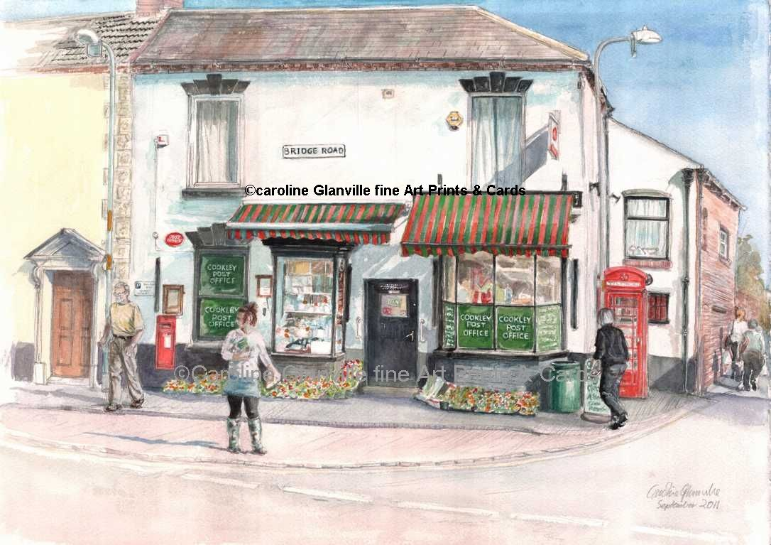 Post Office  Cookley village street scene, painting by Caroline Glanville