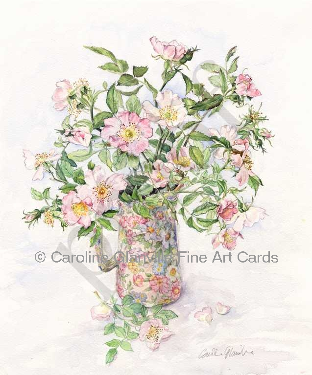 dog roses in jug,painting by Caroline Glanville