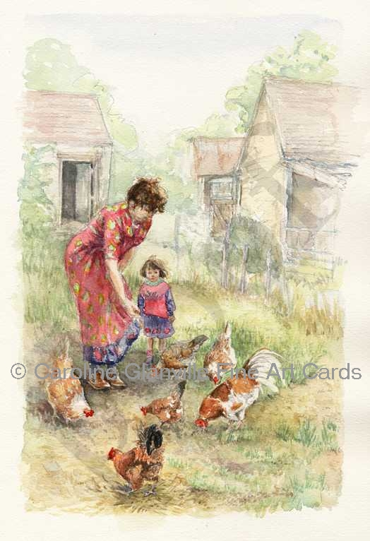 woman & child feeding hens farm yard, painting by Caroline Glanville