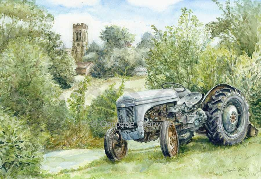 Grey Fergie Tractor, painting by Caroline Glanville