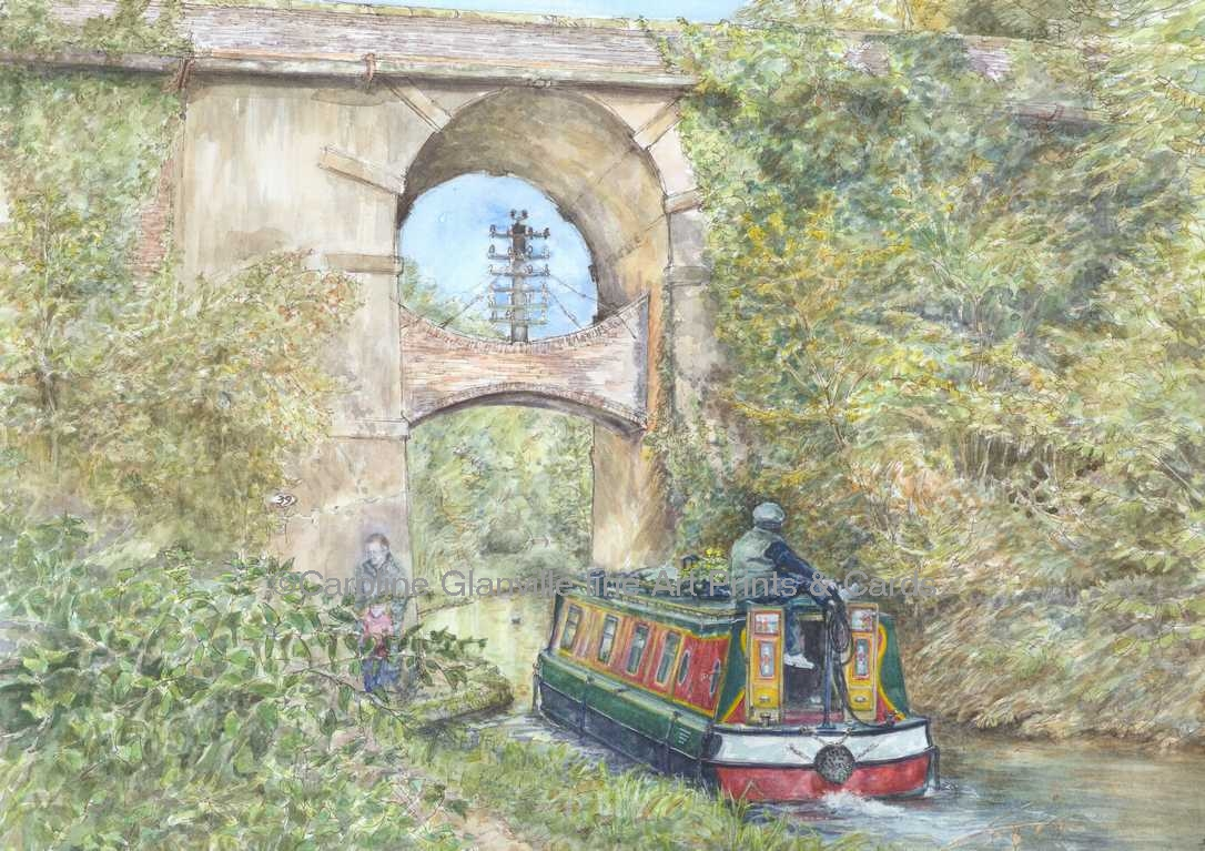 telegraph Bridge canal narrow boat painting by Caroline Glanville