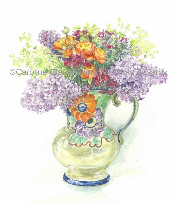 art deco vase of flowers, painting by Caroline Glanville