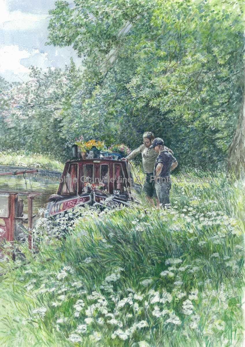 Canal boat men, painting by Caroline Glanville