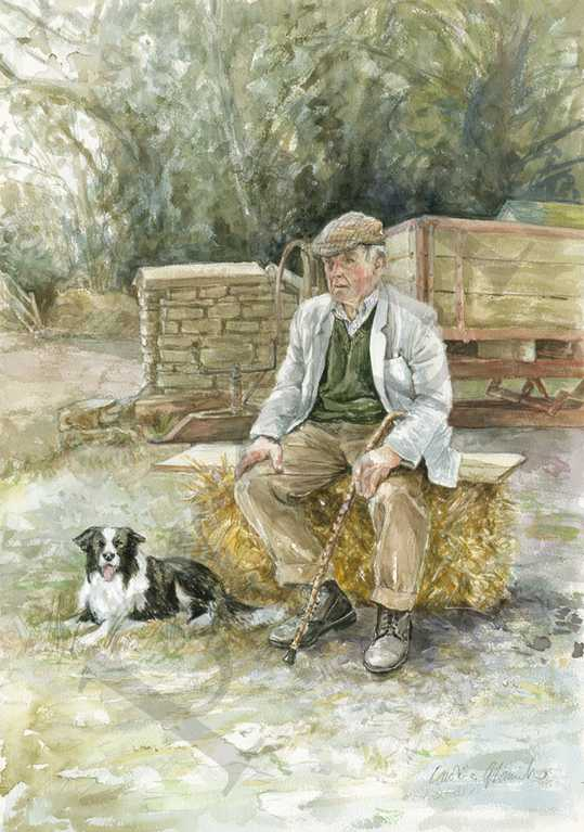 Elderly farm worker shropshire, painting by Caroline Glanville