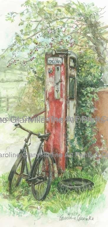 red petrol pump & bicycle, painting by Caroline Glanville