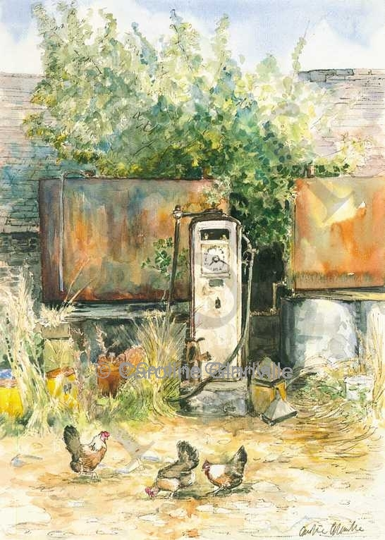 Farmyard fuel pump, painting by Caroline Glanville
