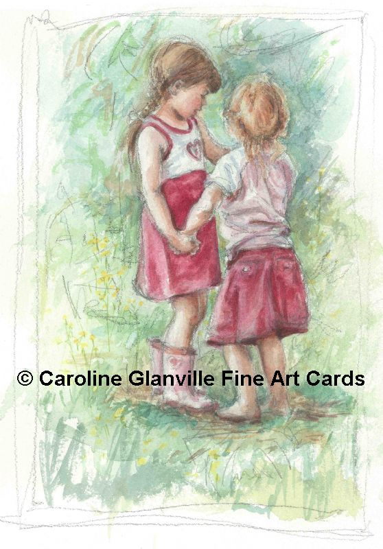 two little girls, painting by Caroline Glanville