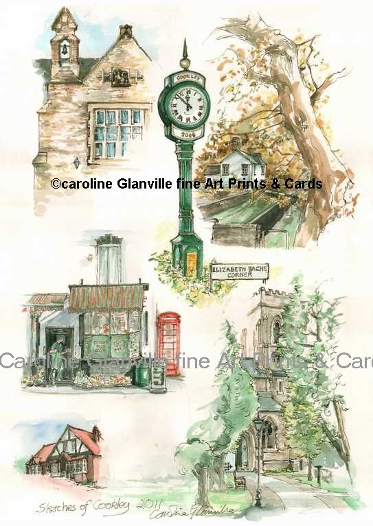 Sketches of Cookley village, painting by Caroline Glanville
