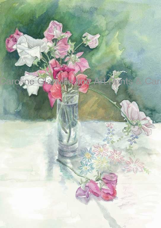 Sweet peas pink in vase, painting by Caroline Glanville