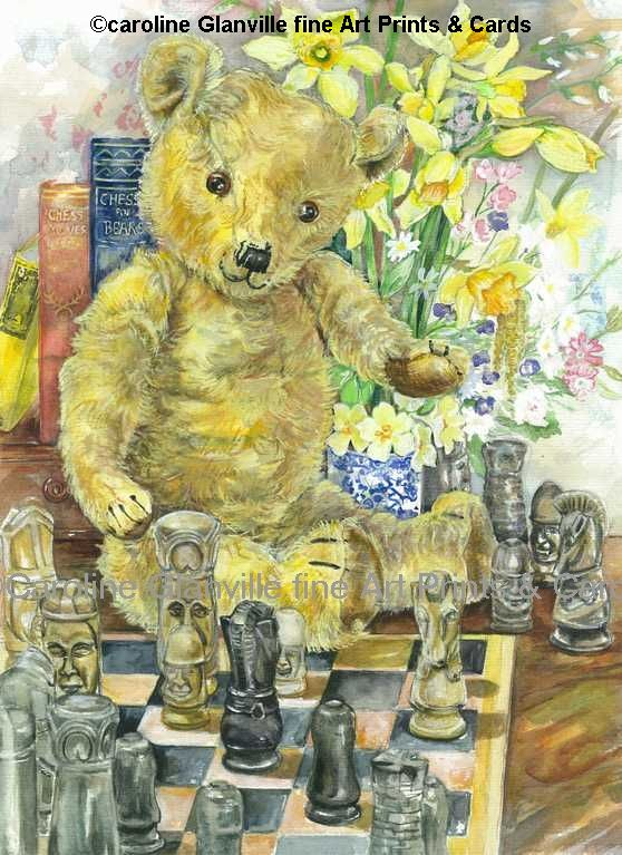 Old fashioned Teddy bear playing chess painting by Caroline Glanville