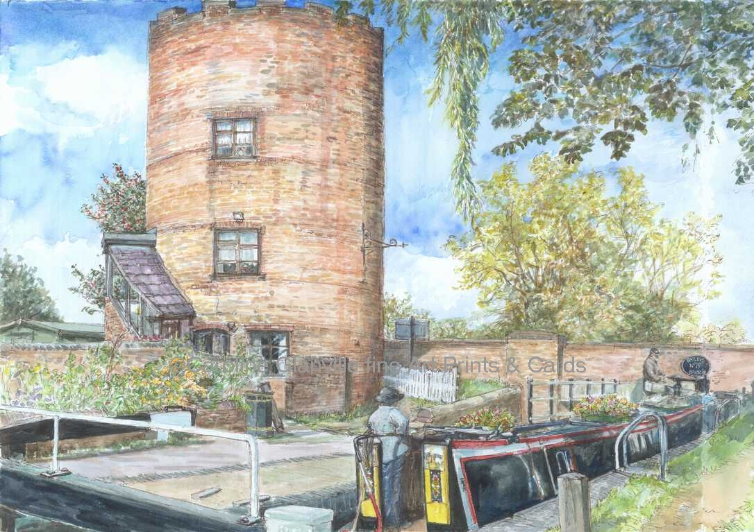 Canal lock scene painting by Caroline Glanville