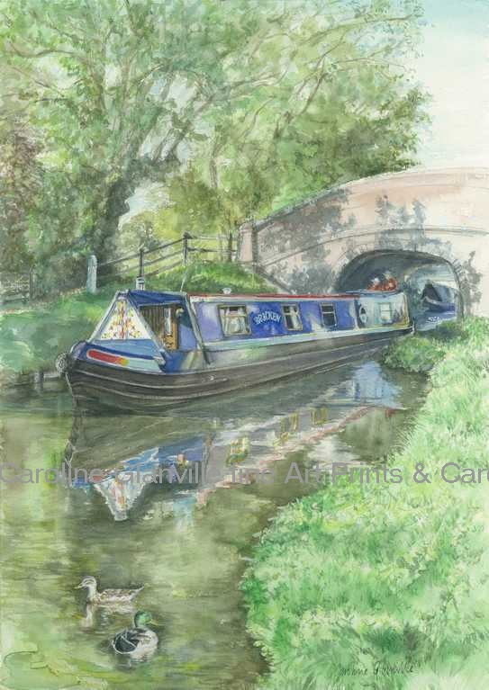 Blue narrow boat  Brewood Staffordshire painting by Caroline Glanville