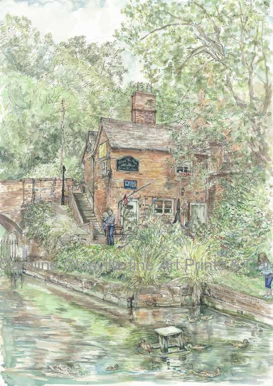 Canal tea rooms Coalport Shropshire painting by Caroline Glanville