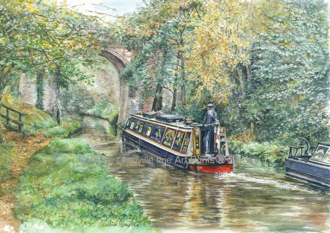 Narrow boat bridge canal scene painting by Caroline Glanville