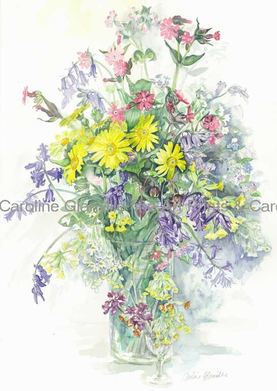 Wild spring flowers, painting by Caroline Glanville